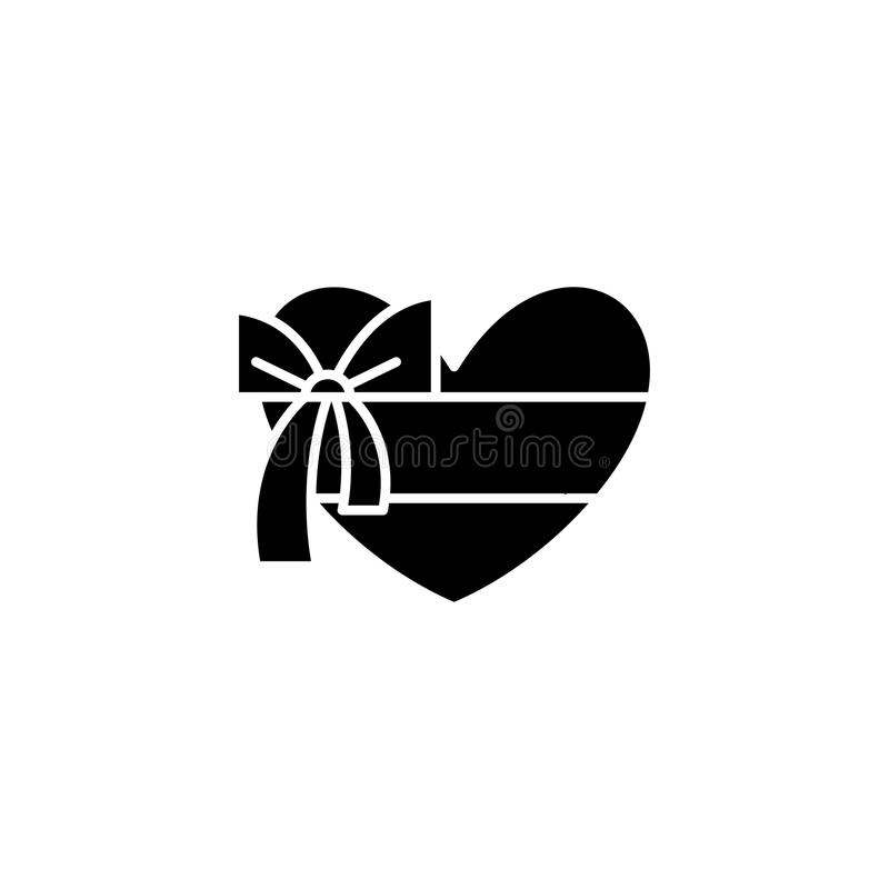 Kasten des schwarzen Ikonenkonzeptes der Schokoladen Kasten des flachen Vektorsymbols der Schokoladen, Zeichen, Illustration lizenzfreie abbildung