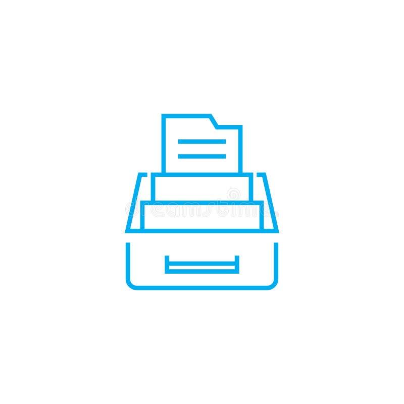 Kasten für lineares Ikonenkonzept der Dokumente Kasten für Dokumente zeichnen Vektorzeichen, Symbol, Illustration lizenzfreie abbildung