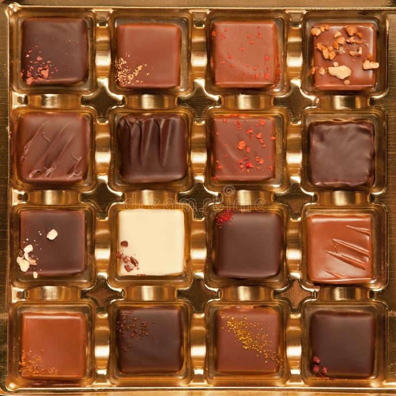 Kasten handgemachte Luxusschokoladen lizenzfreie stockfotos