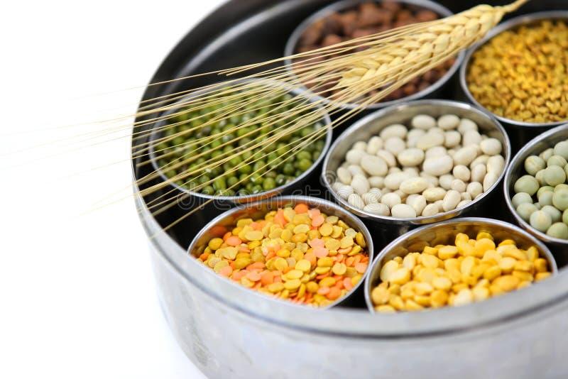 Kasten indische Nahrungsmittelkörner stockfoto