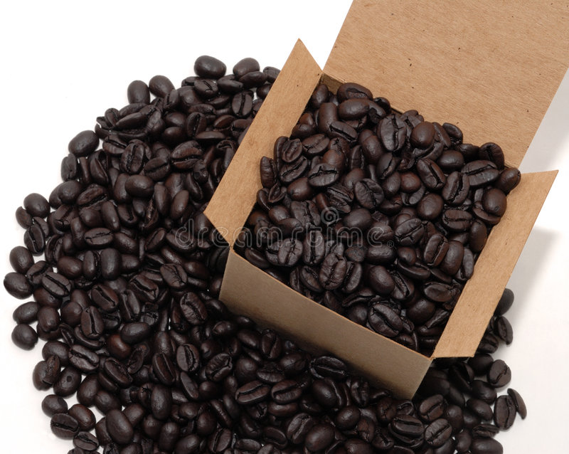 Kasten Kaffee lizenzfreie stockfotografie