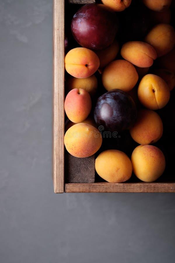 Kasten mit Aprikosen und Pflaumen stockfoto