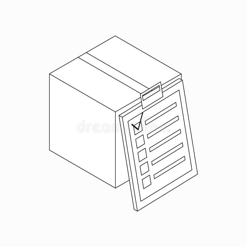 Kasten mit Checklistenikone, isometrische Art 3d lizenzfreie abbildung