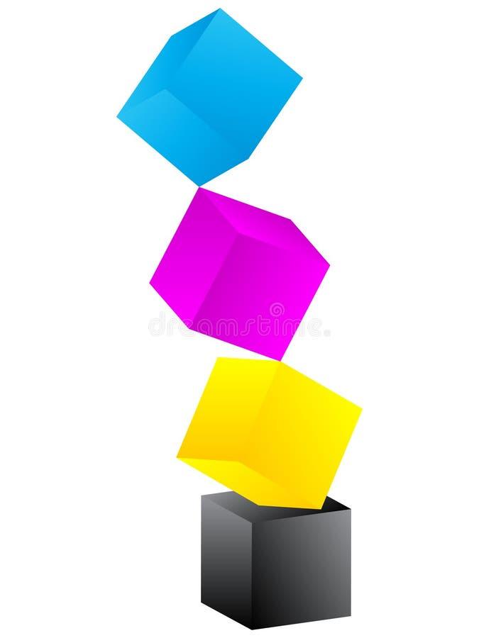 Kasten mit CMYK Farben vektor abbildung
