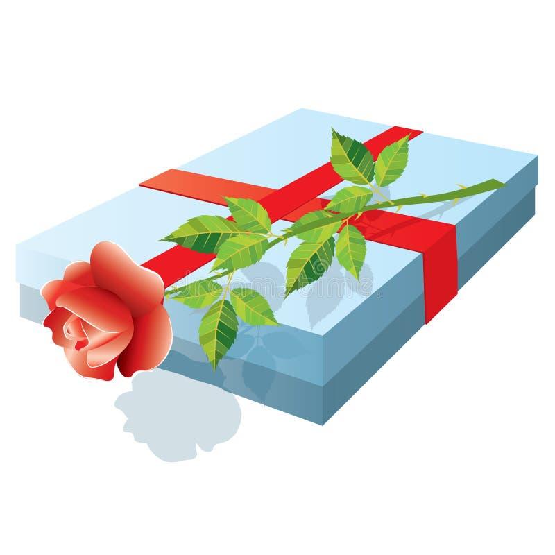 Kasten mit einem Geschenk und stieg. Vektor. vektor abbildung