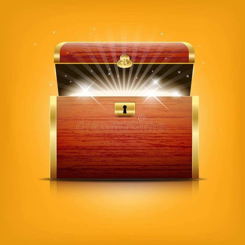 Kasten mit glühendem Schatz lizenzfreie abbildung