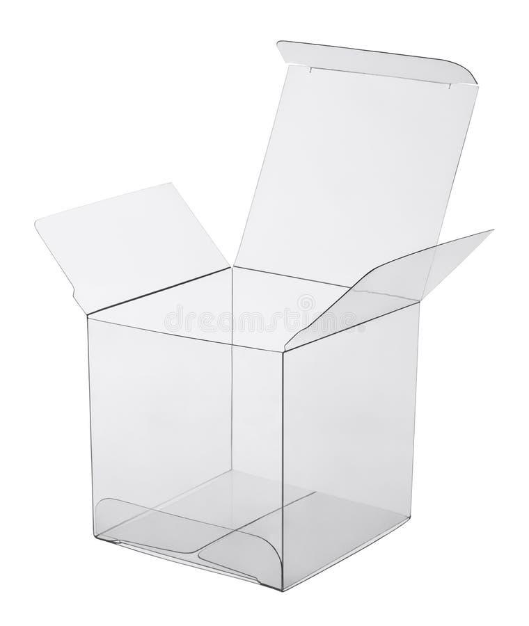 Kasten transparenter Plastik stockbild