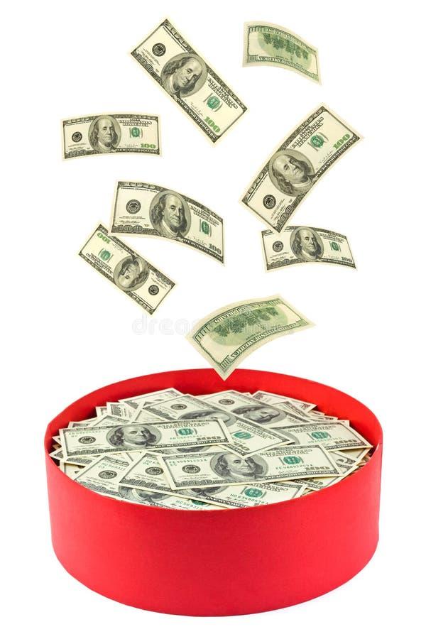 Kasten und fallendes Geld stockfotografie