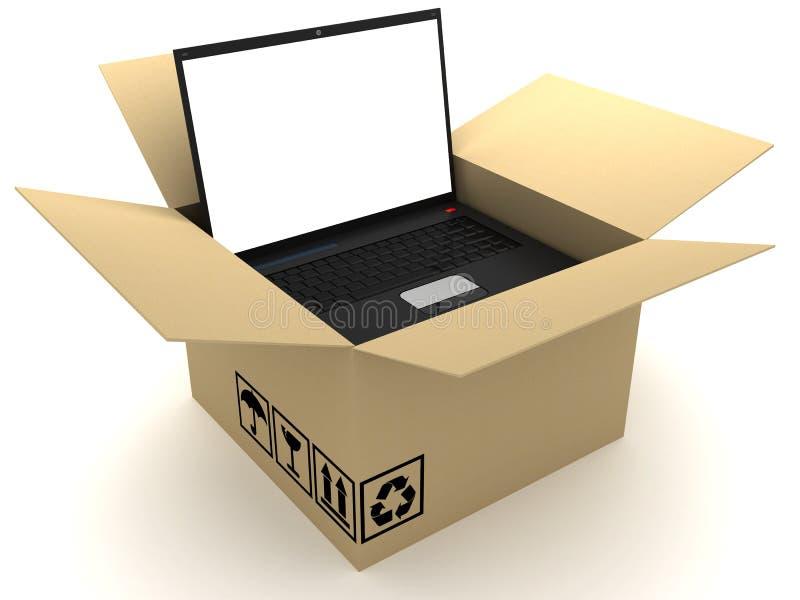 Kasten und PC stock abbildung