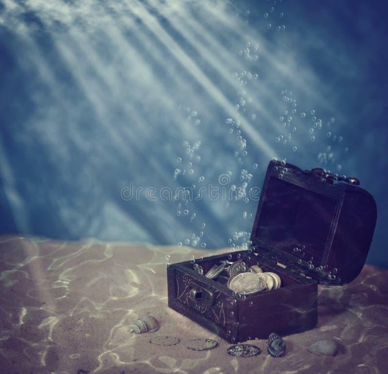 Kasten unter Wasser stockfoto