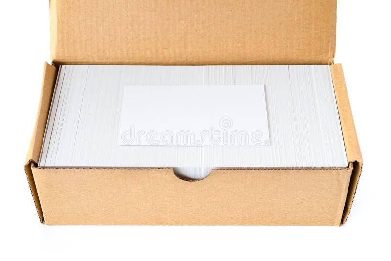 Kasten Visitenkarten mit einem leeren gut für Text und Logo stockfotografie