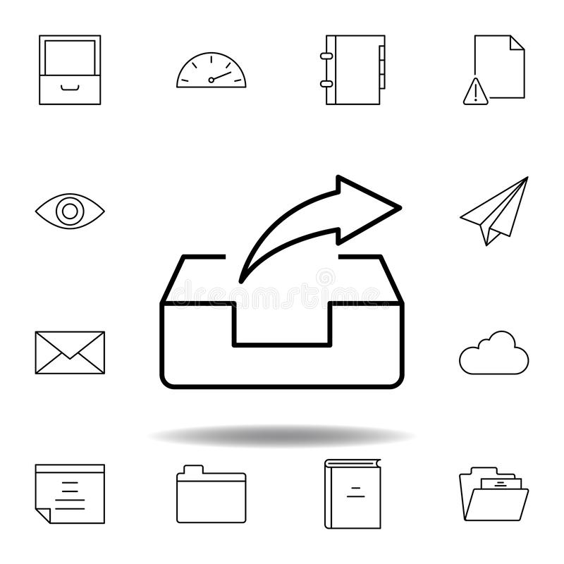 Kastene-mail-weiterleitung Entwurfsikone senden Ausführlicher Satz unigrid Multimedia-Illustrationsikonen Kann f?r Netz, Logo, mo stock abbildung