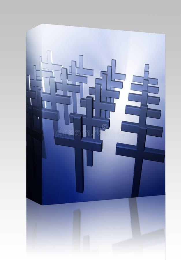 Kastenpaket vieler christliches Kreuze stock abbildung