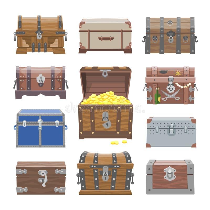 Kastenvektor-Schatzkasten mit Goldgeldreichtum oder hölzerne Piratenkästen mit goldenem Münzenillustrationssatz von geschlossenem lizenzfreie abbildung