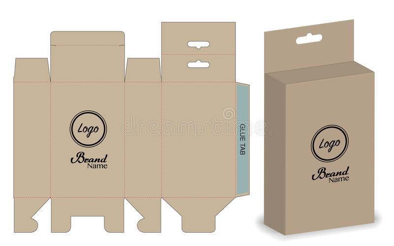 Kastenverpackung stempelschnitt Schablonendesign Modell 3d stock abbildung