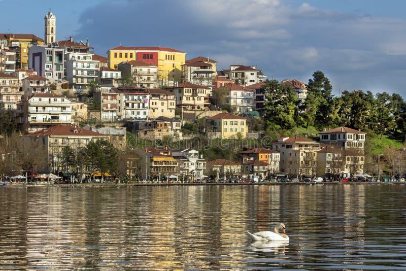 Landscape of the city of Kastoria from Lake Orestiada, Greece. royalty free stock photos