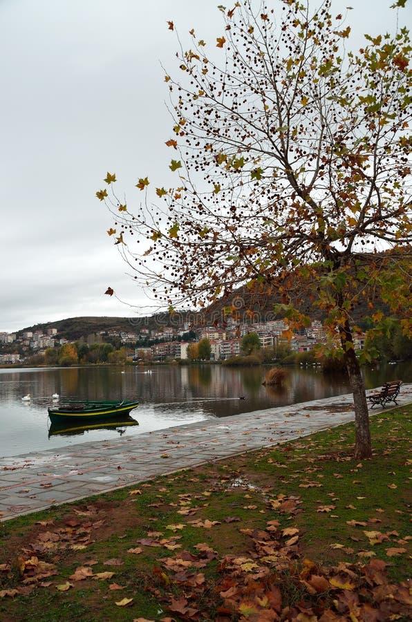 Kastoria lakefront om den molniga höstdagen arkivbild