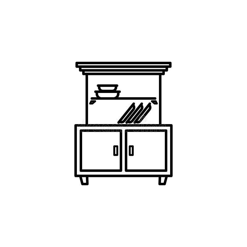 Kastpictogram Element van meubilair voor mobiel concept en Web apps Dun lijnpictogram voor websiteontwerp en ontwikkeling, app de royalty-vrije illustratie