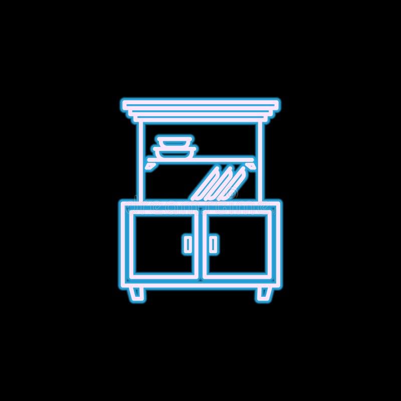 kastpictogram in neonstijl Één van het pictogram van de Meubilairinzameling kan voor UI, UX worden gebruikt royalty-vrije illustratie