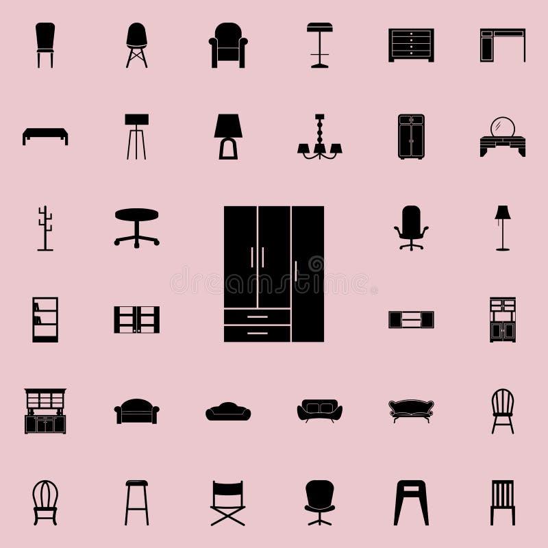 Kastpictogram Voor Web wordt geplaatst dat en het mobiele algemene begrip van meubilairpictogrammen vector illustratie