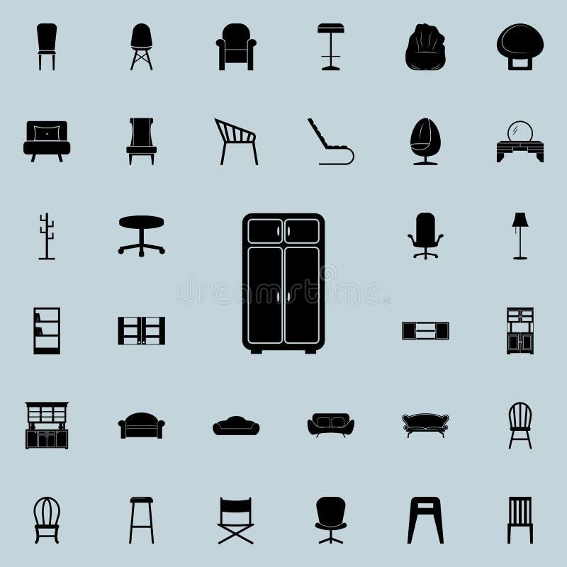 Kastpictogram Voor Web wordt geplaatst dat en het mobiele algemene begrip van meubilairpictogrammen royalty-vrije illustratie