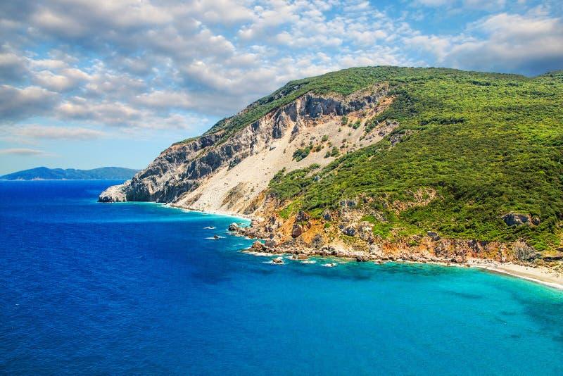 Kastro海滩,斯基亚索斯岛,希腊 免版税库存图片