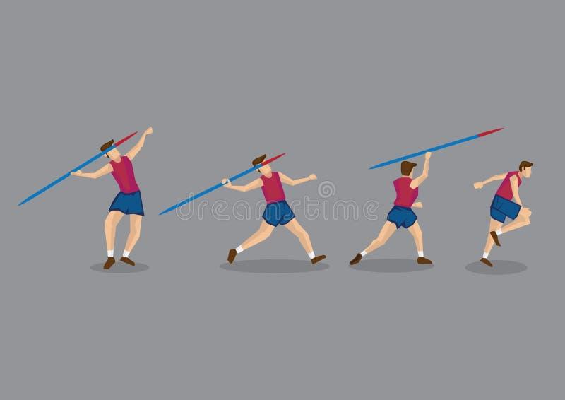 Kastspjut som kastar sporthandlingföljd royaltyfri illustrationer