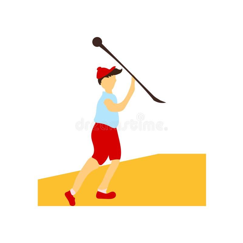 Kastspjut som kastar tecknet och symbolet för idrottsman nenvektorvektor som isoleras på vit bakgrund, kastspjut som kastar begre royaltyfri illustrationer