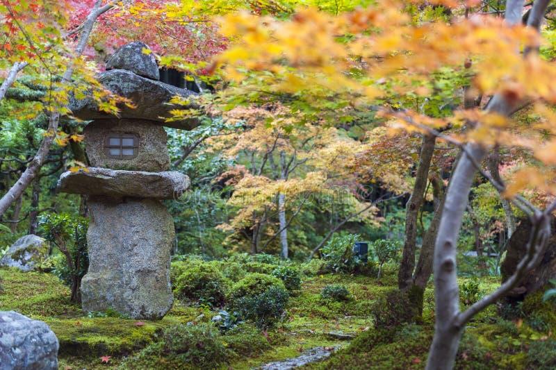 Kasuga doro或石头灯笼在秋天期间的鸡爪枫庭院里在Enkoji寺庙,京都,日本 库存图片
