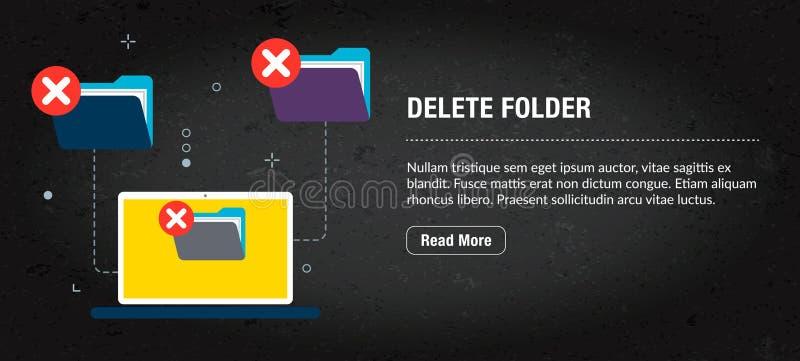 Kasuje falcówkę, sztandaru internet z ikonami w wektorze ilustracji