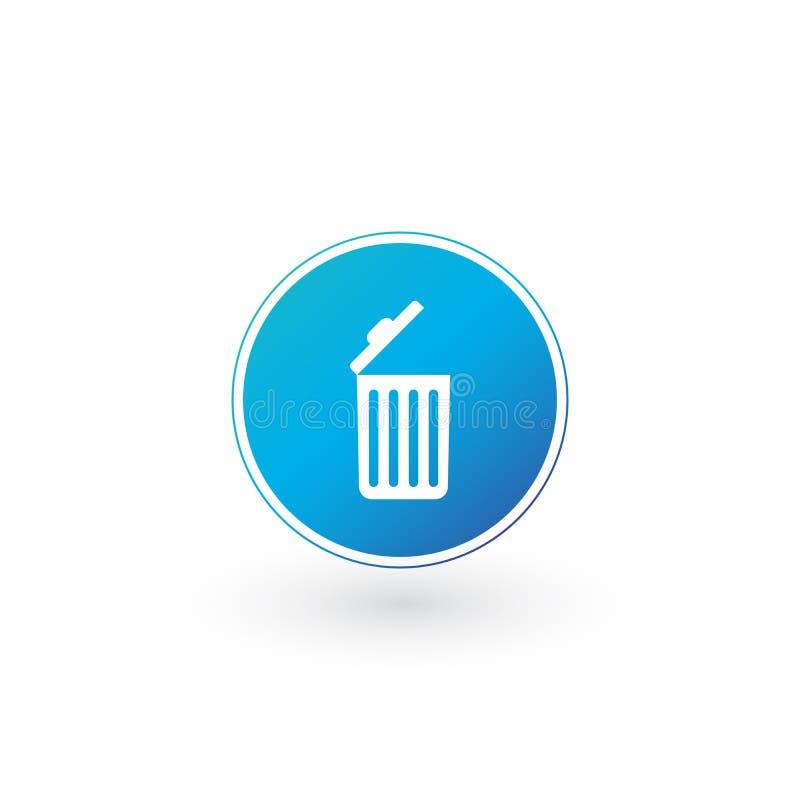 Kasuje ikonę, Otwiera kubła na śmieci, Przetwarza kosz, śmieci znak odizolowywający na białym tle Może używać dla strony internet royalty ilustracja