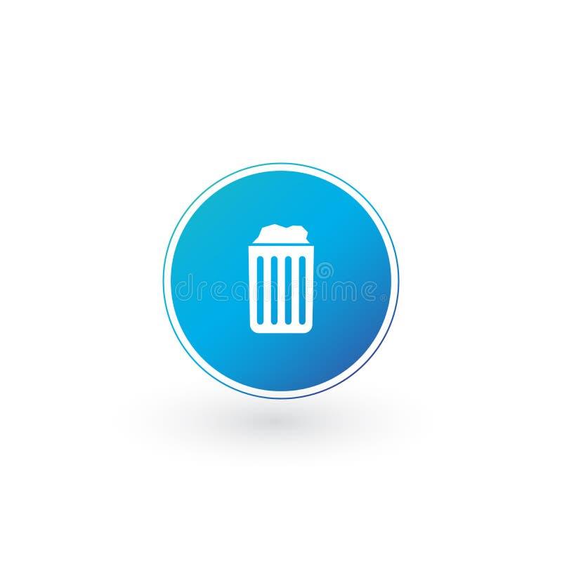 Kasuje ikonę, Przetwarza kosz, kubeł na śmieci, śmieci znak odizolowywający na białym tle Może używać dla strony internetowej, UI ilustracja wektor