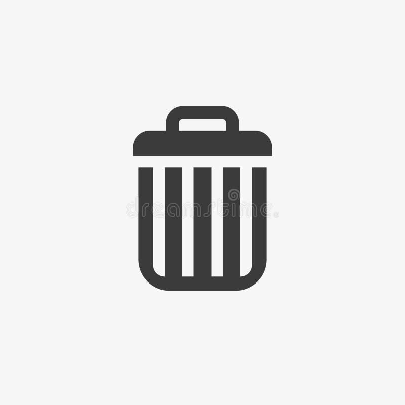 Kasuje ikonę, wektorowy śmieciarski kubła na śmieci kosza znak odizolowywający na białym, płaskim projekcie dla strony internetow ilustracji