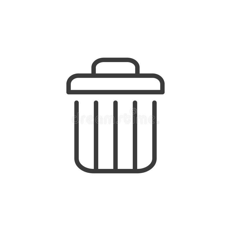 Kasuje ikonę, wektorowy śmieciarski kubła na śmieci kosza znak odizolowywający na bielu, linia, konturu cienki płaski projekt dla ilustracja wektor