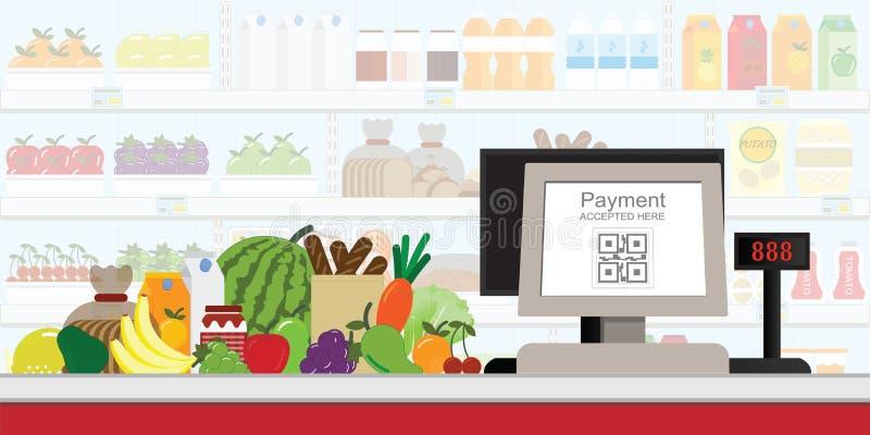 Kasy QR kodu elektroniczna zapłata w supermarkecie, detaliczny sklep akceptował cyfrowego wynagrodzenie bez pieniądze, wektorowa  ilustracja wektor