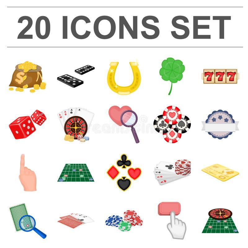 Kasyna i wyposażenia kreskówki ikony w ustalonej kolekci dla projekta Uprawiać hazard i pieniądze wektorowy symbol zaopatrujemy s royalty ilustracja