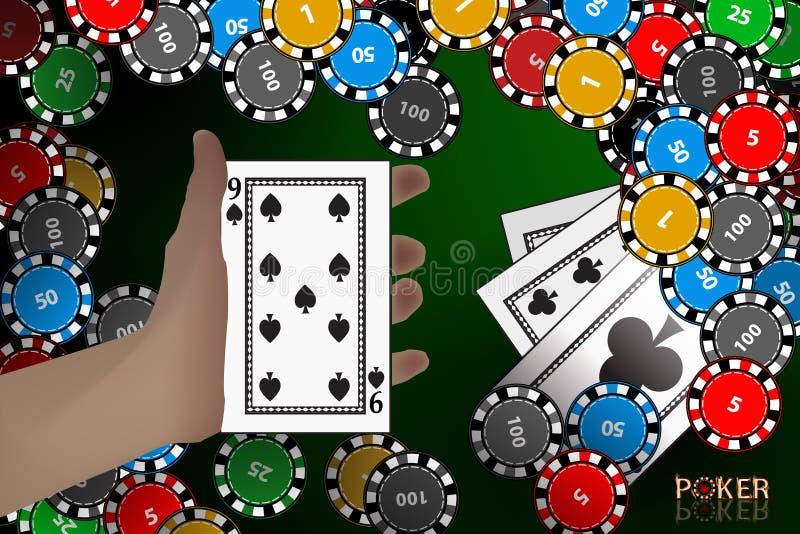 Kasyno karta Karta na ręce wygranie układy scaleni ilustracja wektor