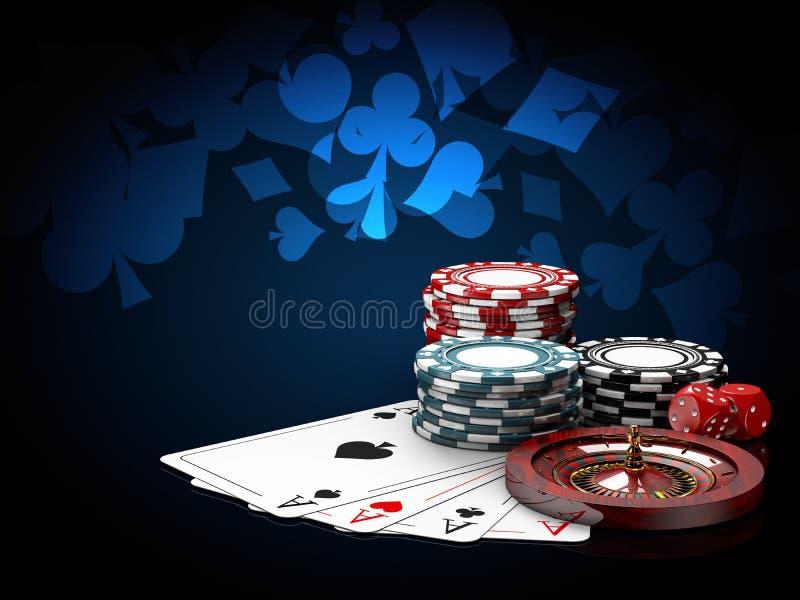 Kasyno szczerbi się sterty z ruletą, sztuk kartami i kostka do gry, 3D ilustracja na błękitnym tle ilustracji