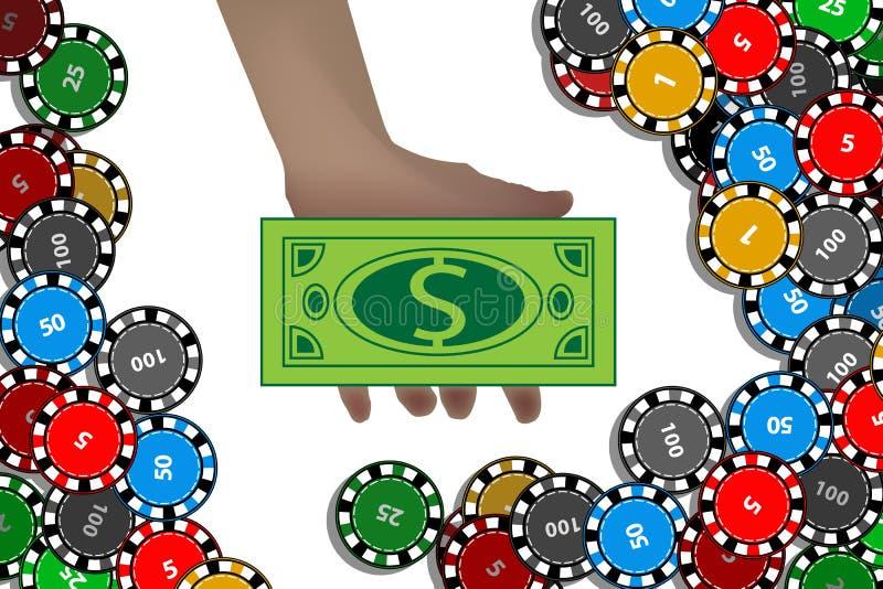 Kasyno układów scalonych ręka z dolarem wygrania pojęcie ilustracja wektor