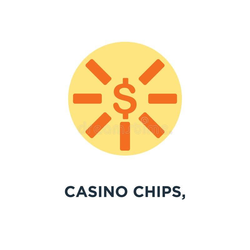 kasyno układy scaleni, kasyno szczerbią się ikonę dolarowego znaka pojęcia symbolu desi royalty ilustracja