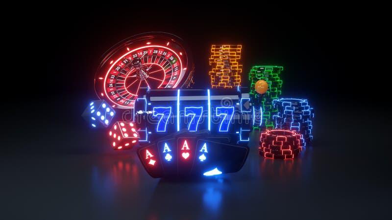 Kasyno Uprawia hazard Futurystycznego poj?cie - 3D ilustracja ilustracji