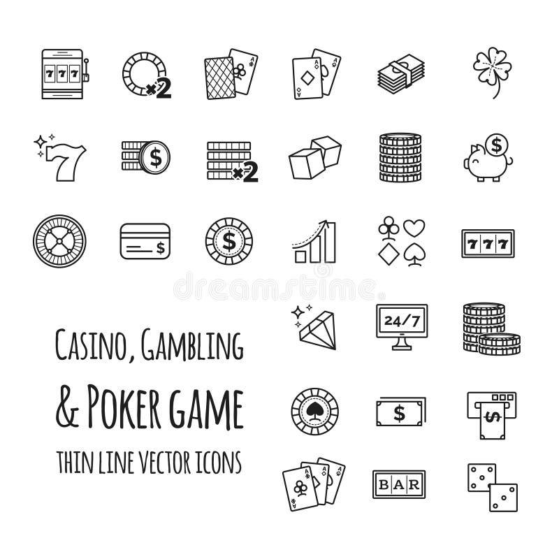 Kasyno, uprawia hazard, partia pokeru wektoru ustalone ikony ilustracja wektor