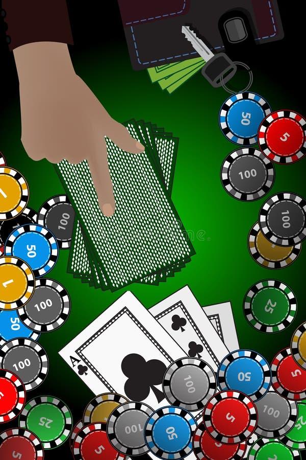 Kasynowa układ scalony ręki sterta karty wygrania pojęcie ilustracja wektor