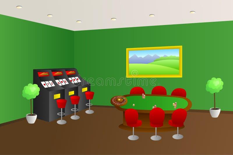 Kasynowa wnętrze zieleni gemowego stołu czerwień sadza automat do gier ilustrację ilustracji