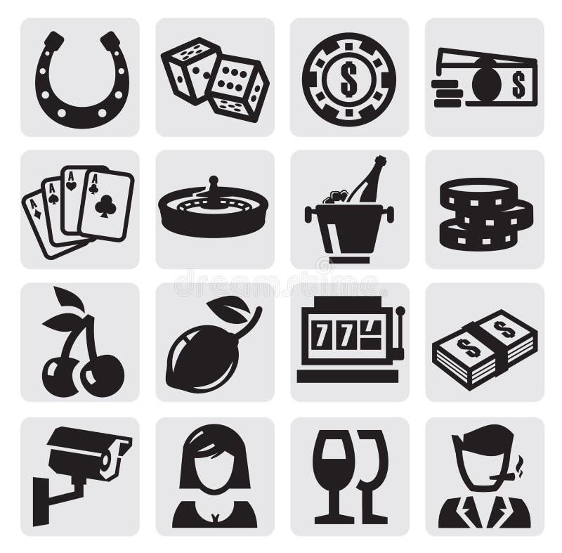 Kasynowe ikony royalty ilustracja