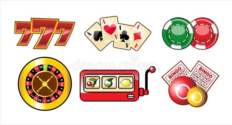 kasynowe ikony ustawiają ilustracja wektor
