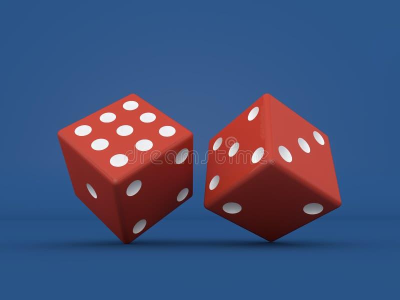 Kasynowe kostki do gry na błękitnym tle ilustracja wektor