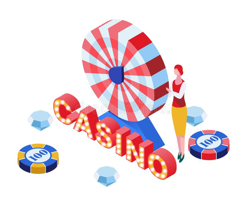 Kasynowego gemowego krupiera isometric ilustracja Uprawiający hazard biznes, kasynowa luksusowa ruleta paskował koła 3D odizolowy royalty ilustracja