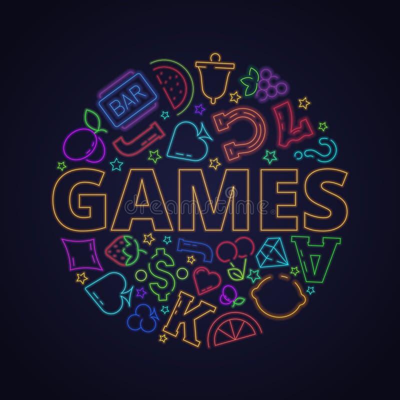 Kasynowi neonowi symbole Automat do gier gry światła ikona w okręgu kształta owoc kierowym koniczynowym diamentowym wektorowym li royalty ilustracja