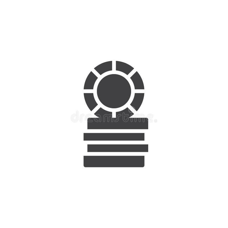 Kasynowy żeton, hazardów układów scalonych ikony wektor royalty ilustracja